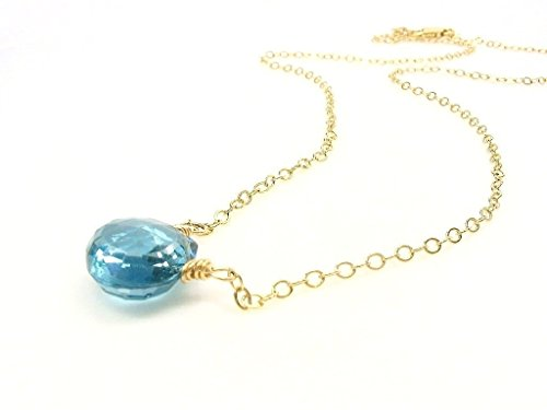 Genuine London Blue Topaz Gemstone Necklace 14K Gold Filled 17 Inches ()