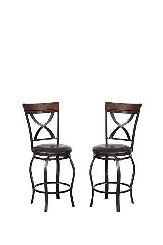 Poundex Bobkona Daisy Set of Two 24″ Seat Height Swivel bar Stool, Dark Brown