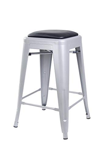 GIA 24-Inch Backless Counter Height Stool with Faux Leather Seat, Gray Black, 2-Pack