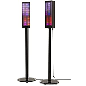 Sharper Image SBT1019 2 Pair Bluetooth Tower Speakers, Stereo System Floorstanding Speakers with Lights, Pair of 2 LED Tower Speakers For Home