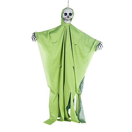 Unionm Halloween Toys, Halloween Props, Solid Color Ghost Skull Hanging Pendant DIY Decoration Toys Haunted House Decoration for Home Yard Outdoor Indoor Party Bar (Green)