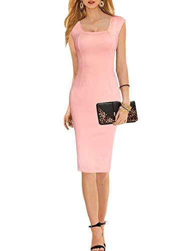 PAKULA Womens Summer Elegant Solid Color Simple Square Neck Wear to Work Pencil DressSmall