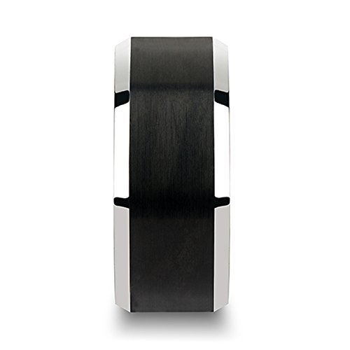 Thorsten Aston Black Brushed Center Tungsten Carbide Ring with Polished Beveled Edges 10mm Width from Roy Rose Jewelry