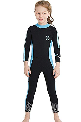 JELEUON Little Kids Girls UV Protection Swimsuits 2.5mm Neoprene Keep Warm Wetsuit Long Sleeves Diving Suits XL Black-Blue (Swimwear Neoprene Xl)