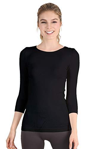 (Nikibiki Womens Seamless Crew Neck Three Quarter Sleeve Top One Size Black)