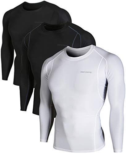 DEVOPS Men's 3 Pack Cool Dry Athletic Compression Long Sleeve Baselayer Workout T-Shirts (Large, Black-Black-White) ()