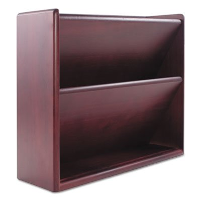 Hardwood Double Wall File, Letter, Two Pocket, Mahogany by Carver Wood