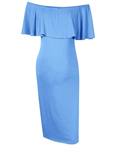 Coolmee Women's Maternity Dress Off Shoulder Casual Maxi Dress (XL, Sky Blue)
