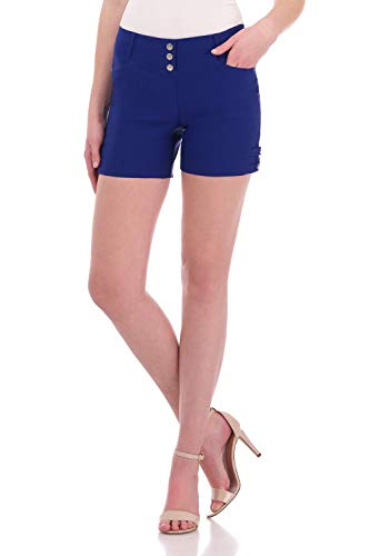 (Rekucci Women's Ease Into Comfort Stretchable Pull-On 5 inch Slimming Tab Short (8,Sapphire))