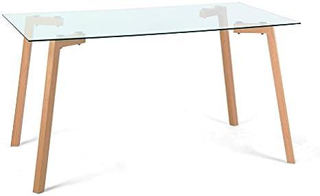 140x80x75 cm Rovere//Trasparente Metallo Laccato Vetro temperato Cribel Sky Tavolo