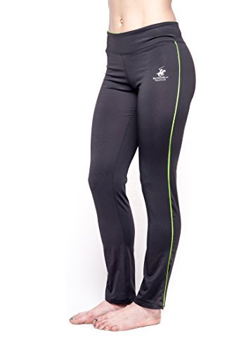 Beverly Hills Polo Club Womens Athletic Workout and Yoga Pants-BH237-Black/Yellow-Large