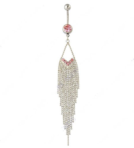 HYYIdealism 316L Surgical Steel 14 Guage Dazzling Pink Gem Rhinestone 15-Tassels Chain Dangle Navel Belly Bar Ring Barbell Body Jewelry