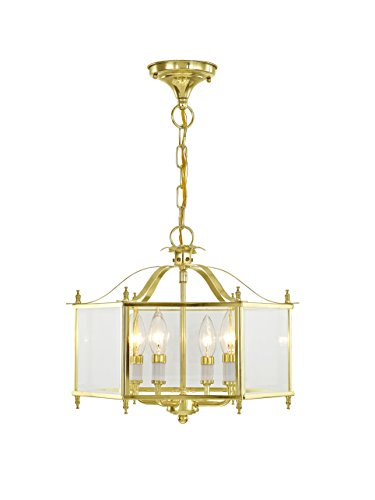 Livex Lighting 4398-02 Livingston 4-Light Convertible Hanging Lantern/Ceiling Mount, Polished Brass - Classic Polished Brass Lantern