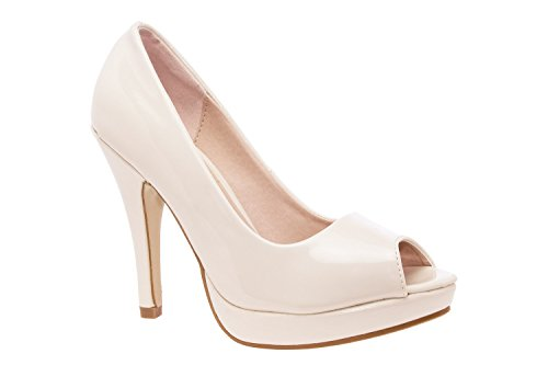 Andres Machado AM5003BRIDAL.Patent/Engraved Faux Leather Peep Toe Platform Pumps.Petite and Large Sizes.Size Range: UK 0.5 to 2.5/EU 32 to 35 - UK 8 to 10.5/EU 42 to 45. Beige Patent cRNS9H5