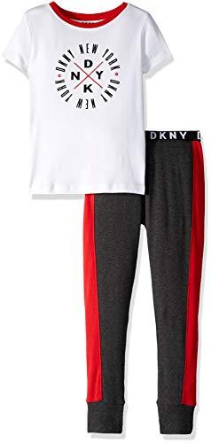 DKNY Boys' Big Short Sleeve T-Shirt and Jogger Sleepwear Set, White Heather 10/12 ()