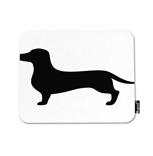 Mugod Dachshund Dog Mouse Pad Animal Pet Dog Long Black Cute Hound Puppy Gaming Mouse Mat Non-Slip Rubber Base Mousepad for Computer Laptop PC Desk Office&Home Working 9.5x7.9 Inch