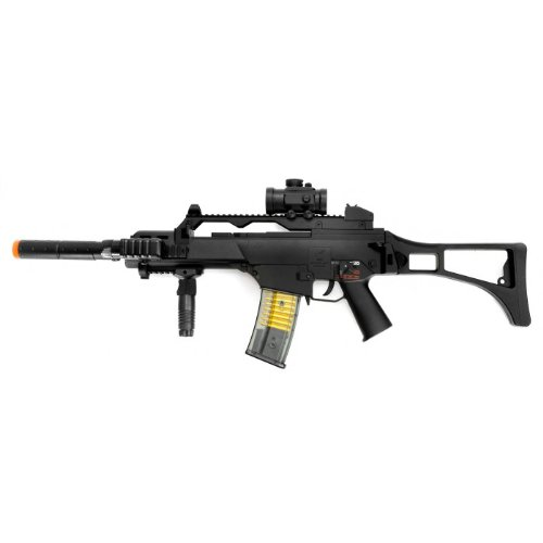 double eagle m85p electric airsoft gun full auto fps-260, w/ flashlight, foregrip, red dot scope, & silencer(Airsoft Gun)