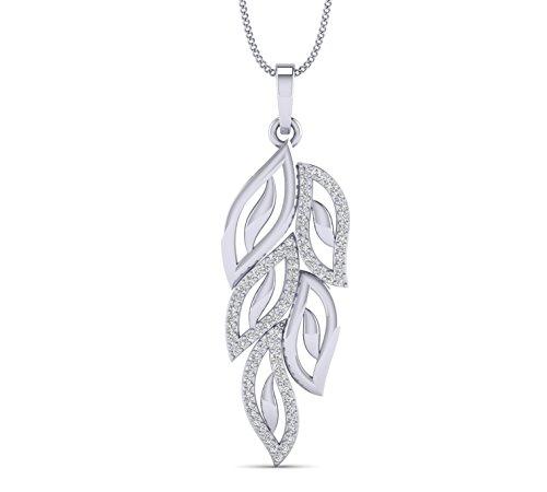 (Natural Diamond 14K Gold Leaf Pendant For Women By Fehu Jewel)