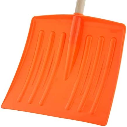 """Superio Kid Snow Shovel with Wooden Handle (3 Pack) Kids Size Orange Durable Shovel for Snow - Comfort D Grip on A Sturdy Handle 35 """" Height, Durable Plastic Blade, Kids Safe Shovel"""