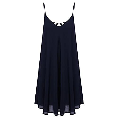 Romwe Womens Summer Spaghetti Strap Sundress Sleeveless Beach Slip Dress Navy S