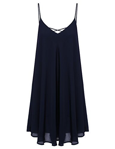 Romwe Women's Summer Spaghetti Strap Sundress Sleeveless Beach Slip Dress Navy S