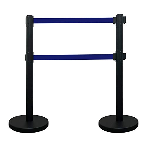 VIP Crowd Control Dual Retractable Belt Queue Safety Stanchion Barrier Set, 40
