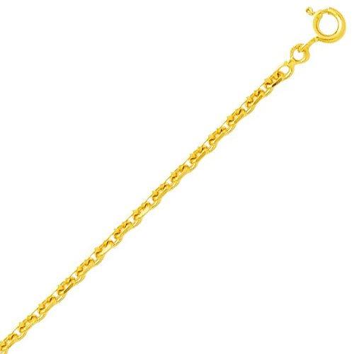 So Chic Bijoux © Chaîne Collier Longueur 40 cm Maille Forçat Diamantée 2,1 mm Or Jaune 750/000 (18 carats)
