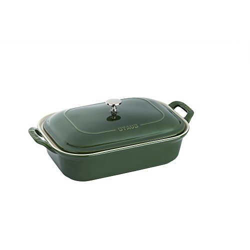 Staub 40509-098 Ceramics Rectangular Covered Baking Dish, 12x8-inch, Basil