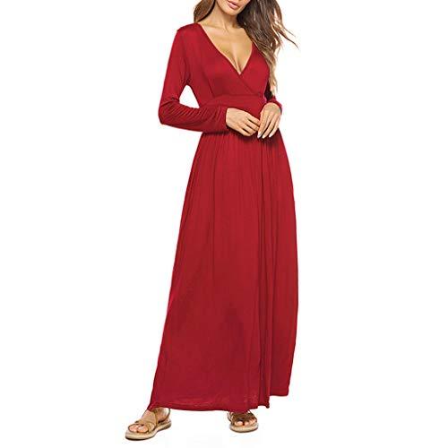 (Landfox Dress for Women, Temperament V Neck Tie Dress,Women's Fashion Sexy Casual Long Dress)