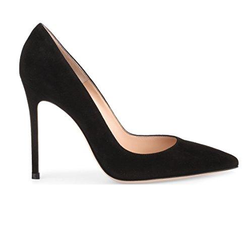 donna Spillo Nero Suede a Tacchi Tacco Sexy Heels col EDEFS Alto High Scarpe Decolte tacco Donna twBOO6