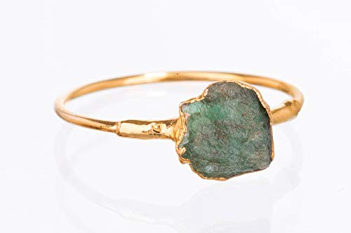 - Size 5 Raw Emerald Ring, Yellow Gold, May Birthstone Jewelry