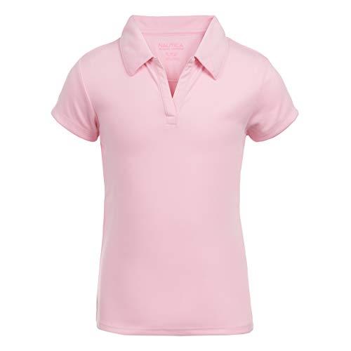 Nautica Girls' Little School Uniform Short Sleeve Performance Polo, Light Pink, X-Large(6X)