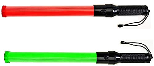 One (1) piece: Traffic Safety Baton Light, 21.5 inch length, Each baton contains 6 Red LED plus 6 Green LED, with 3 Flashing modes (Red blinking, Red steady-glow, Green steady-glow)