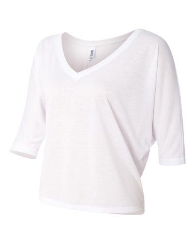 picture of Bella+Canvas Ladies' Flowy V-Neck Half-Sleeve Cropped Tee - White - S