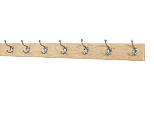 Maple Coat Rack with Satin Nickel Hat and Coat Style Hooks (Natural, 36
