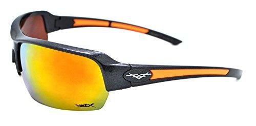 Vertx léger durable pour homme et pour femme Athletic Sport Lunettes de soleil de cyclisme Course à Pied W/étui microfibre gratuit Black/Orange Frame - Orange Lens
