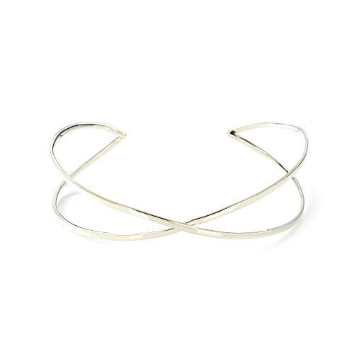 (MGD, 26 MM Wide Cross Wire Arm Cuff Adjustable Upper Arm Bracelet, Silver Tone Base Brass, One Size Fit All, Fashion Jewelry for Women, JE-0197M)
