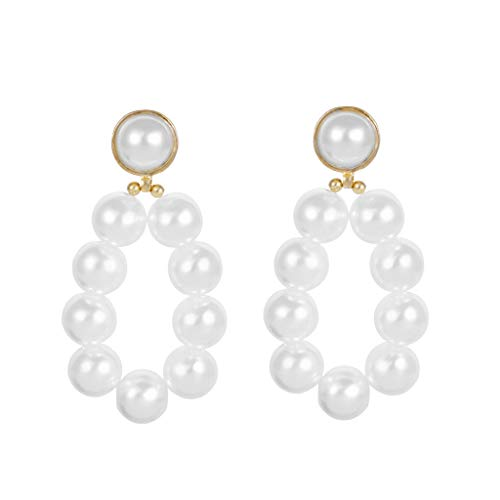 XBKPLO Vintage Hoop Earrings For Women Long Simple Pearl Stud Earring Dangling Ear Clip Ladies Wild Jewelry Gifts