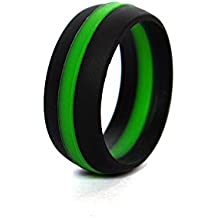 Thin Green Line Silicone Wedding Ring Band Flexible Hypoallergenic Active Wear for on duty or active life styles Military