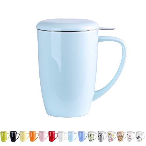 LOVECASA Tazas de Te con Tapa y Filtro Acero inoxidable 450 ML, Taza Tisana de Porcelana Azul Claro
