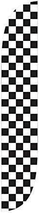 LookOurWay Checkered Feather Flag, 12-Feet, Black/White