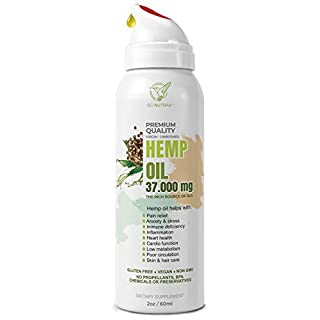 Hemp Seed Oil Extract, 37000mg (2oz) Product of USA for Pain Anxiety, Stress Relief, Sleep aid–Focus and Mood Improvement l Intake Control Spray Bottle