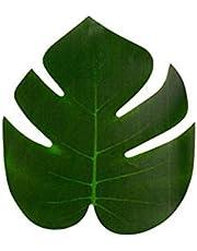 ورقة خضراء الصناعيه الصغيره لديكور طاولة الحفلات - لحفلات الهاواي الصيفيه - للفنون اليدويه  12 حبه