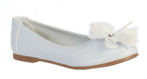 Swea Pea & Lilli Little Girls Flat Flower Dress Shoe (11 M US Little Kid) White ()