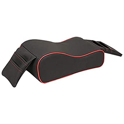 Black + Red Semoic Car Armrest Cushion Breathable Car Armrest Box Mat,Memory Foam Car Armrest Console With Phone Holder Storage Bag
