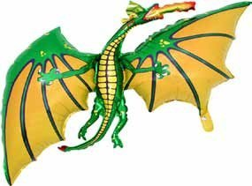 Grabo 36 Inch Green Dragon Shaped Foil Balloon - Air Or -