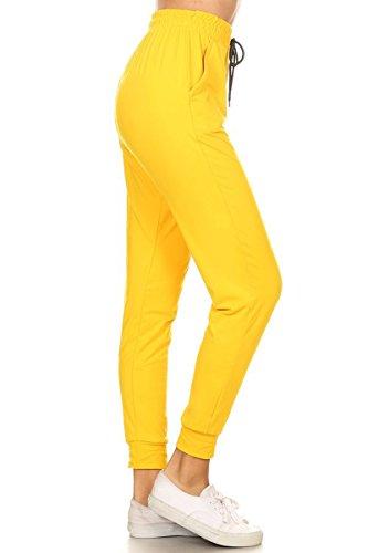 Inner Pocket - Leggings Depot Women's Printed and 3-Stripes Activewear Jogger Track Cuff Sweatpants Inner Pockets (Dark Yellow, Medium)