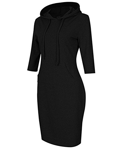 Menglihua Womans Basic Bodycon Pullover Hooded Hoodies Dress with Kangaroo Pockets Black Raglan Sleeve Large