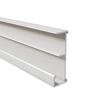 lg 1000mm Homewell Rail aluminium /à clipper sur tablette de 19mm pour dossiers suspendus laqu/é blanc