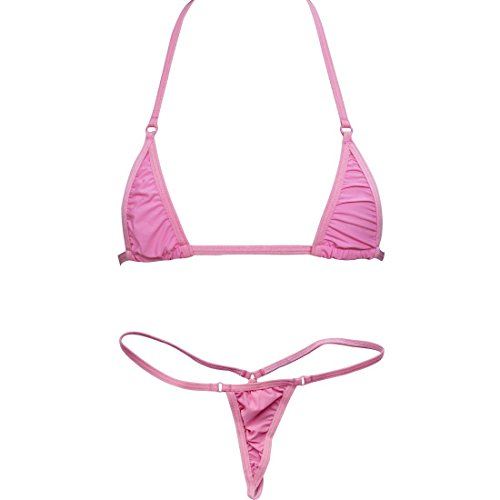 EVAbaby Women Micro G-String Bikini 2 Piece Swimsuit Sheer Extreme Mini Thong Set Bathing Suit Swimwear - G-string Micro
